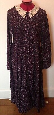 Vintage Laura Ashley Tea Dress 1980's Size 10 Button Front Lace Collar Floral