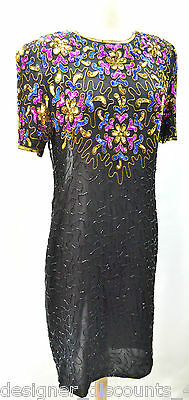 VTG. Vintage Stenay black silk beaded sequin party evening cocktail dress SZ 6 P