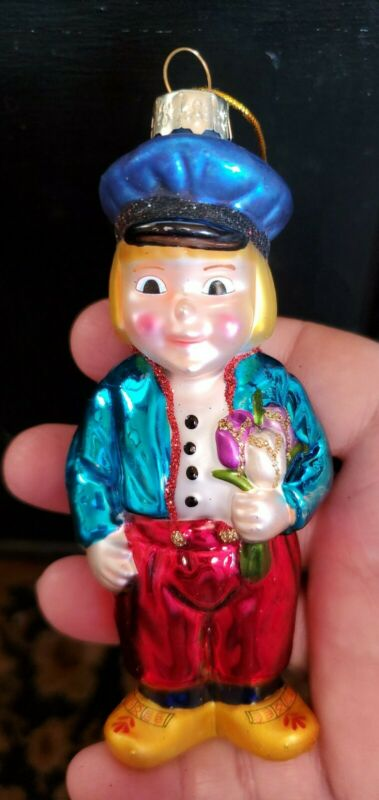 "Christmas Ornament Large 5"" Tall Blown Glass Dutch Boy Holland Holding Tulips"