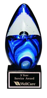 6.5 Art Glass Employee Of The Month Recognition Retirement Award Trophy T-1633
