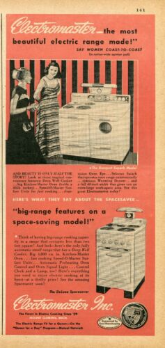 1948 Print Ad of Electromaster Banquet Superb Range Oven & DeLuxe Spacesaver