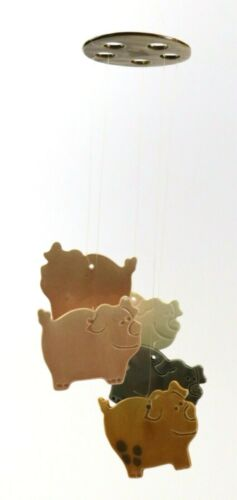 Ceramic Hand Painted Pig Piggy Piglets Wind Chime