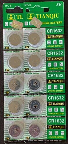 10 CR1632 CR 1632 DL1632 3 Volt Lithium Button Cell Battery EXP 2024 USA SHIP