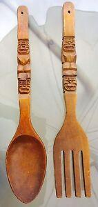 Vintage Large Carved Fork & Spoon