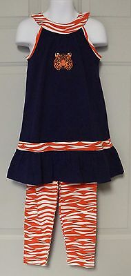 BLUE & ORANGE TIGERS APPLIQUE GIRL