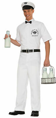 Retro Flirtin' with the 50's Milkman Costume Adult Mens Dairy Cow White Std XL (Mens 50s Costume)