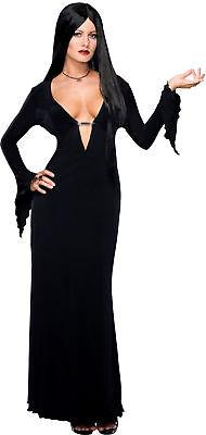 Morticia Addams Familie Erwachsene Damen Kostüm Schwarz Sexy Kleid Halloween