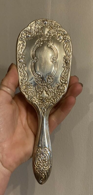 International Silver Company silver plated Hair Brush vintage Ornate Decorative