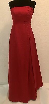 Womens Red Strapless A Line Long DressGown DAVIDS BRIDAL Bridesmaid Prom Size 6