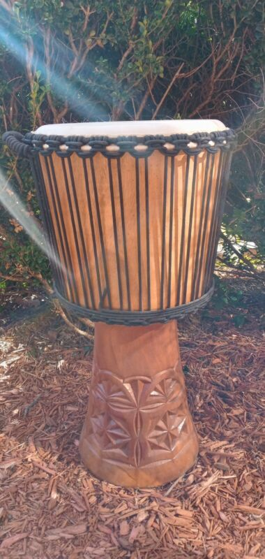 """Blemishes Discount, DJEMBE Large 24"""" tall Mahogany djembe hand drum"""