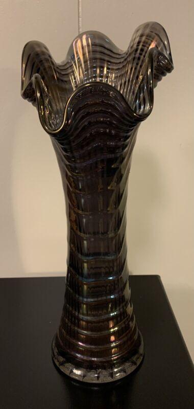 Vintage Imperial Ripple Amethyst Art Glass Vase
