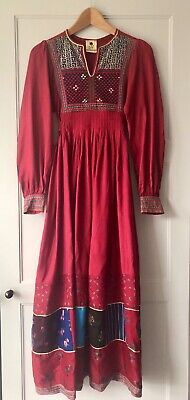 Rare Vintage Afghan Dress Monsoon Janet Wood Patchwork Embroidered Indian Phool