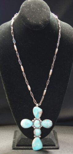 Frank Patinia Sr. Silver Necklace W/ Turquoise Cross