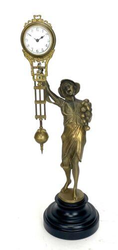 German Style Junghans Brass Onion Boy Figure 8 Day Swinging Swinger Clock