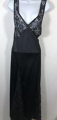 Women's Honeymoon Plunge Negligee Long Black Lace Top Lace Inserts & Satin M/L