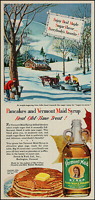 1950 Vermont Maid syrup maple sugar camp snow oxen vintage art print ad S19A