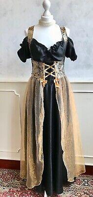 Medieval Black Satin Gold Tapestry Brocade Period Costume Fancy Dress Medium 12