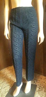Vtg 1950-60s sheer black Crochet Lace capris cigarette crop pants High Waist Sz8
