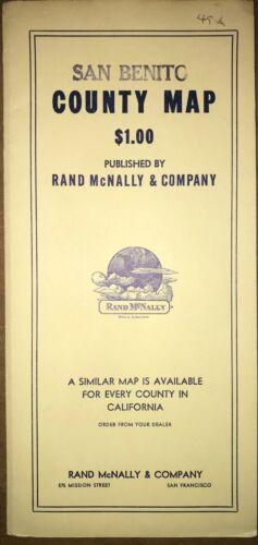 "1948 San Benito County Map by Rand McNally - Original in folder 25"" x 25"""
