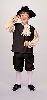 Colonial Boy Costume Brown & Tan Knickers Shirt & Hat Book Report Costume Lg - Boys Colonial Shirt