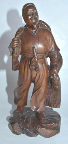 Antique 19c. Chinese Carved Wood Figurine Working Man Marked Wax Seal
