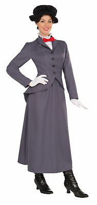 English Nanny Women Costume Fancy Grey Dress Victorian Mary Poppins Style XL - Victorian Style Dresses Halloween