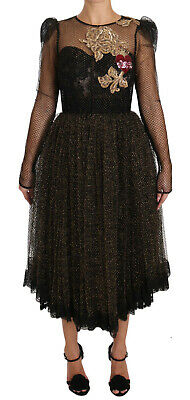 DOLCE & GABBANA Dress Black Gold Crystal Heart A-line IT44 / US10 / L RRP $8800