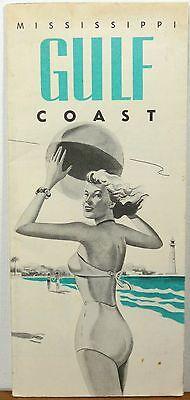 1940's Mississippi Gulf Coast vintage travel brochure beach ball bikini cover