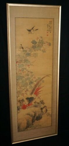 1800 Chinese Framed Painting Scroll Birds on Flowering Branch by Huan Chi (CWo)