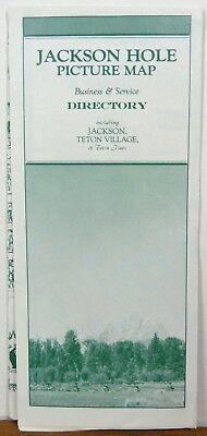 1986 Jackson Hole Teton Village illustrated map & travel brochure b