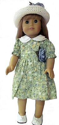 Green Floral Dress and Hat Fits 18