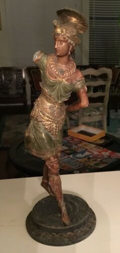 Ancient Roman copper bronze metal women soldier statue polychrome goddess ornate