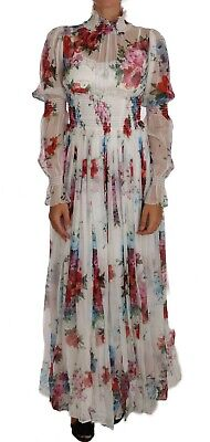 DOLCE & GABBANA Dress White Floral Silk Full Gown Maxi IT48/ US 14/ XL RRP $4700