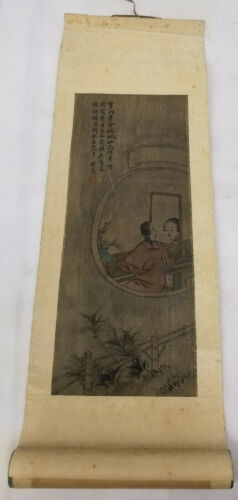 Antique Chinese Small Scroll Painting on Silk Lady Inscription Signed