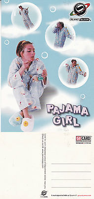 PAJAMA GIRL PLANET SLEEP UNUSED ADVERTISING COLOUR  POSTCARD