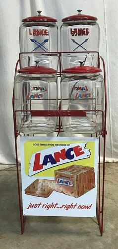VINTAGE LANCE CRACKER GENERAL / COUNTRY STORE DISPLAY WITH 4 JARS.