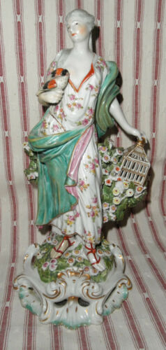 ANTIQUE DERBY PORCELAIN ELEMENT OF AIR LADY WITH BIRD STATUE FIGURINE