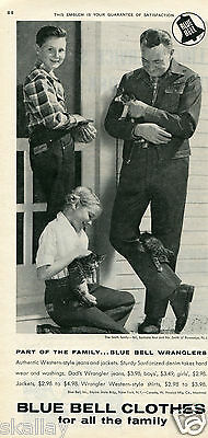 1959 Print Ad of Blue Bell Wranglers Western Style Denim Jeans & Jackets