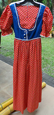 Red/Blue/Yell Vintage Ethnic Prairie Girl Look Costume Dress Bogart of Texas (Bogart Kostüm)