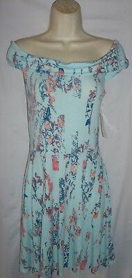 Decree Aqua multi floral pullover on/off shoulder swing sundress Large NWT