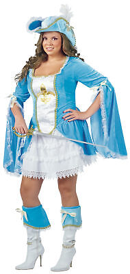 Madam Musketeer Adult Womens Plus Size 1X 2X Teal Dress Halloween - Female Musketeer Costume