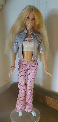 Barbie Doll Long Blonde Hair in Jeans, Heels, and Jacket w/ Stand FREE SHIPPING