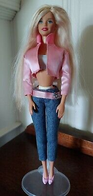 Barbie Doll Long Platinum Blonde in Jeans and Pink Jacket w/ Stand FREE SHIPPING