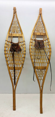 """Rare Antique Vintage OJIBWE Snowshoes 10"""" X 46"""" In Great Condition FREE SHIPPING"""