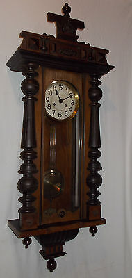 ANTIQUE Wall Clock w/ Turned COLUMNS & Chime FINIALS Pendulum VIENNA With CHIME