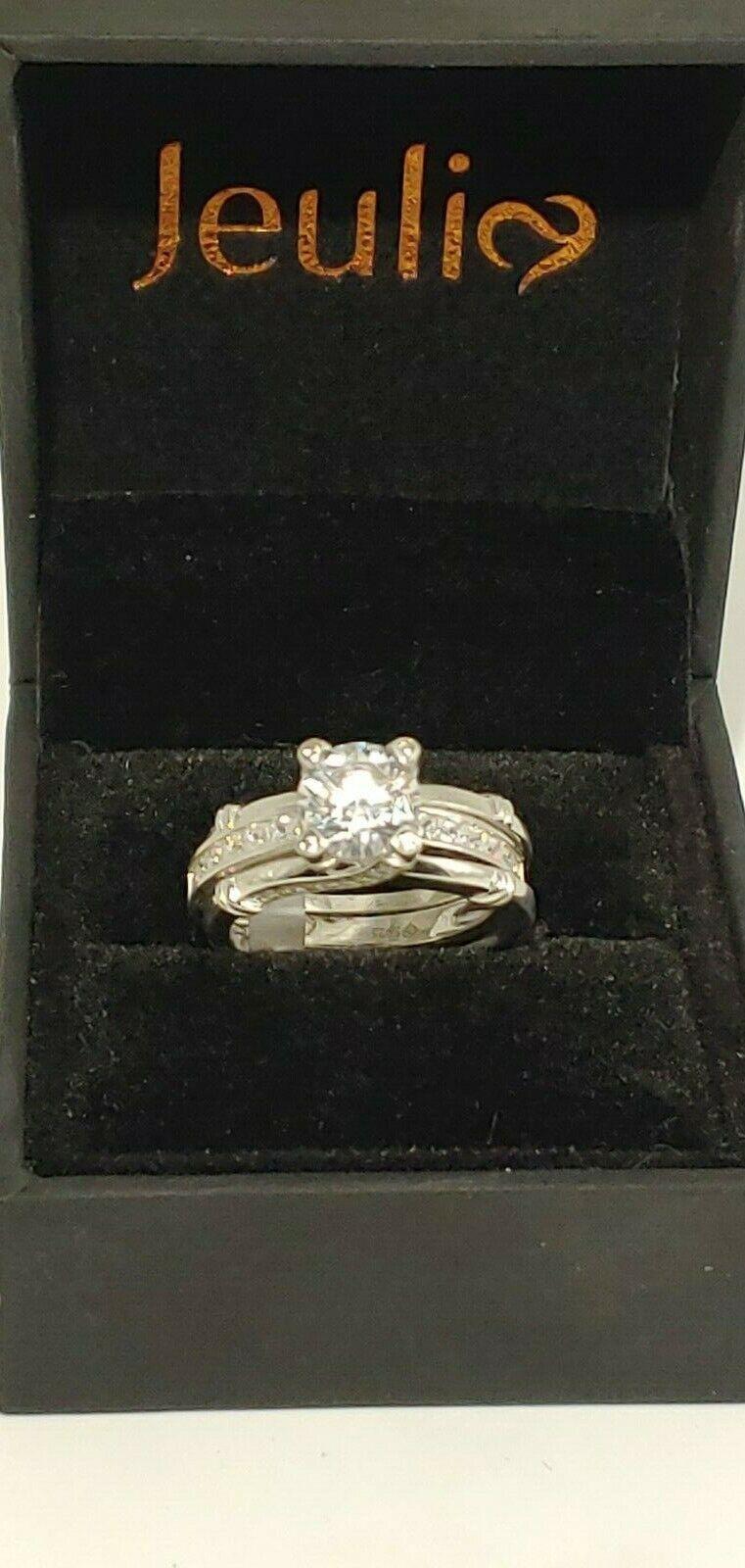 Woman's Round Cut Diamond Size 9 Rings Interchangeable Wedding Engagement Set