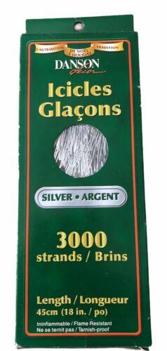 "Vintage Tinsel Icicle DRAPE Christmas Tree Silver 3000 Strands 18"" Festive NIB"