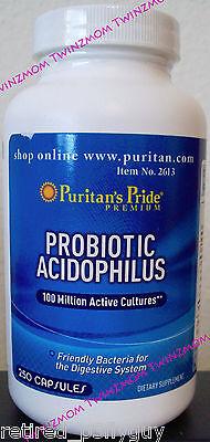 Probiotic Acidophilus 100 Million Active Cultures 250 Capsules Puritans Pride