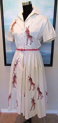 "VTG 1950's Dress ""Democratic Convention Donkey Page Dress"" 1956"