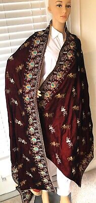 HAND EMBROIDERED Velvet MICRO-9000  Shawl Wrap SCARF -S7 Embroidered Velvet Scarf